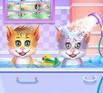 Twin Kitties Spa Caring